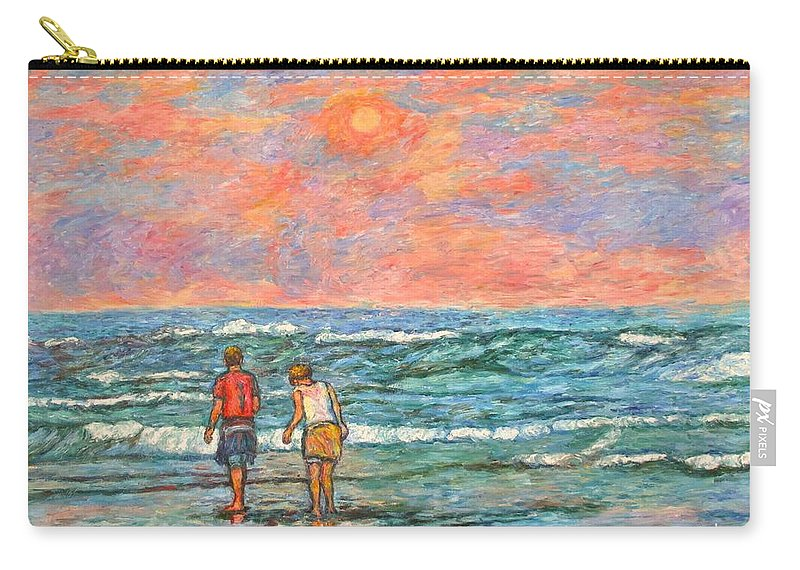 Isle Of Palms Carry-all Pouch featuring the painting Morning Stroll At Isle Of Palms by Kendall Kessler