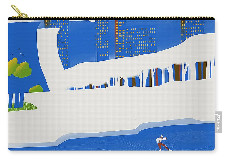 People Carry-all Pouch featuring the digital art Moscow December by Sergey Maidukov