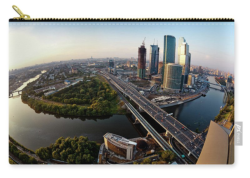 Industrial District Carry-all Pouch featuring the photograph Moscow Skyline. Aerial View. Fisheye by Mordolff