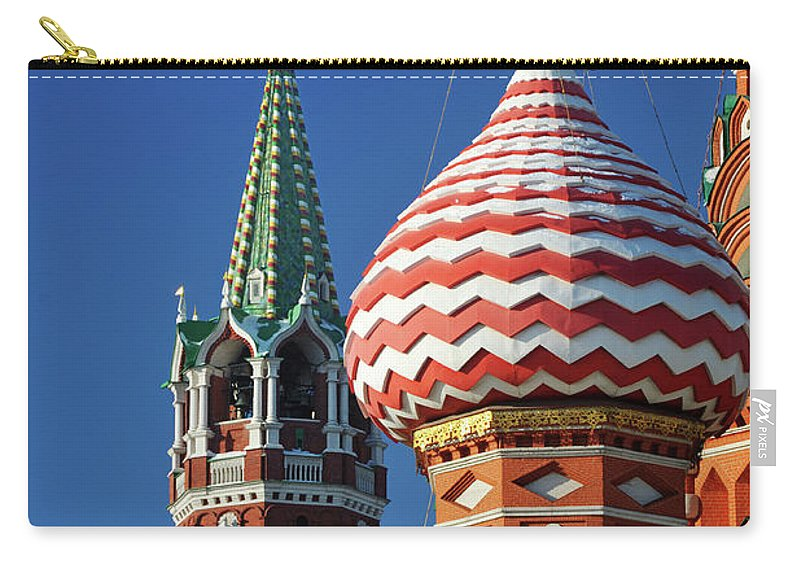 Built Structure Carry-all Pouch featuring the photograph Moscow, Spasskaya Tower And St. Basil by Vladimir Zakharov
