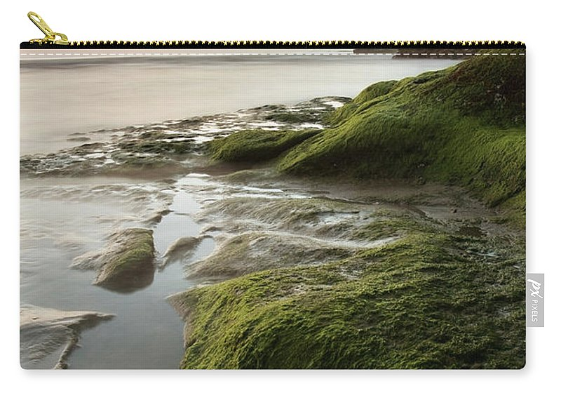 Pismo Beach Carry-all Pouch featuring the photograph Mossy Rocks At Pismo Beach by Kevinruss
