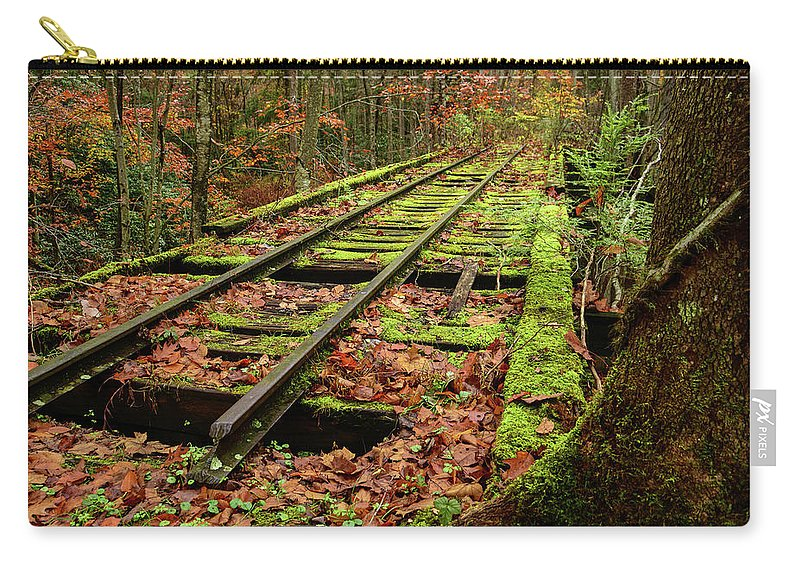 Fall Carry-all Pouch featuring the photograph Mossy Train Track In Fall by Lj Lambert