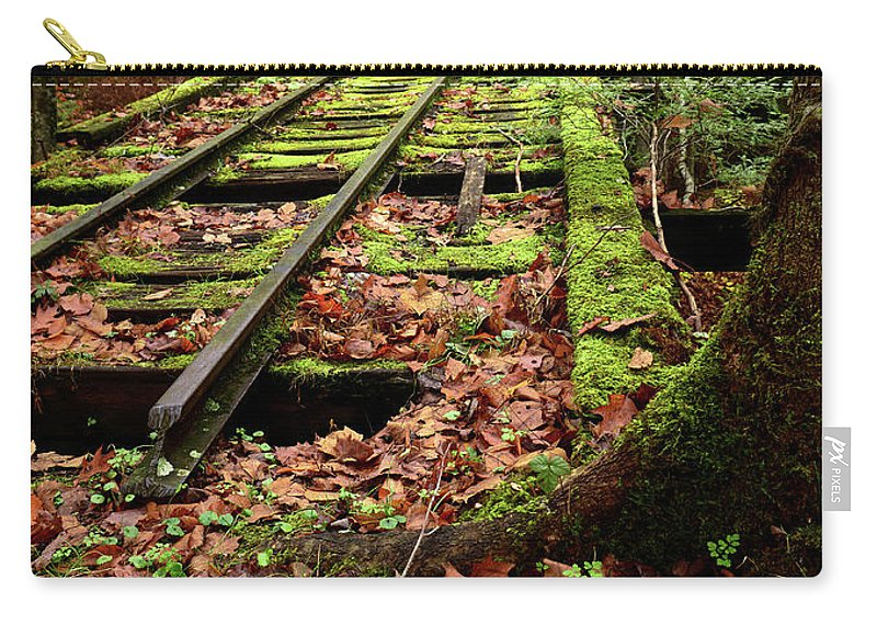 Fall Carry-all Pouch featuring the photograph Mossy Train Tracks by Lj Lambert