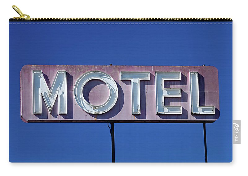 Clear Sky Carry-all Pouch featuring the photograph Motel Sign by Eyetwist / Kevin Balluff