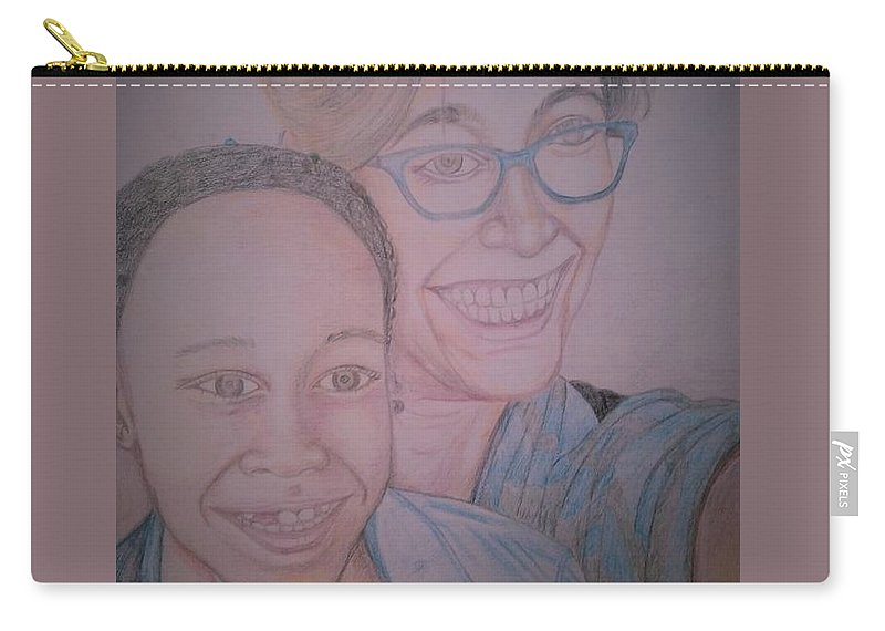 Drawing Carry-all Pouch featuring the drawing Mother and Daughter by Andrew Johnson