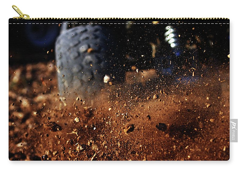 Outdoors Carry-all Pouch featuring the photograph Motorbike On Dirt Road, Close Up by Yaniv Ben Simon - Photography & Design