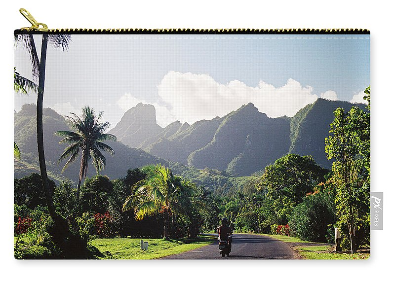 Shadow Carry-all Pouch featuring the photograph Motorcyclist On Polynesian Road by Ejs9