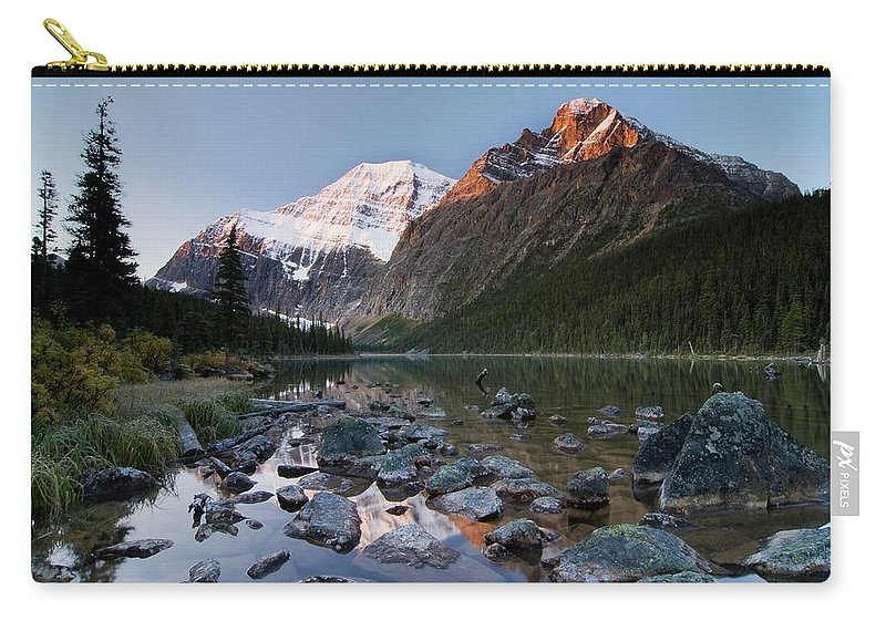 Scenics Carry-all Pouch featuring the photograph Mount Edith Cavell And Cavell Lake by Design Pics/philippe Widling