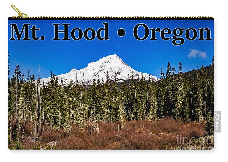 Mount Hood Carry-all Pouch featuring the photograph Mount Hood Oregon In Winter 01 by G Matthew Laughton