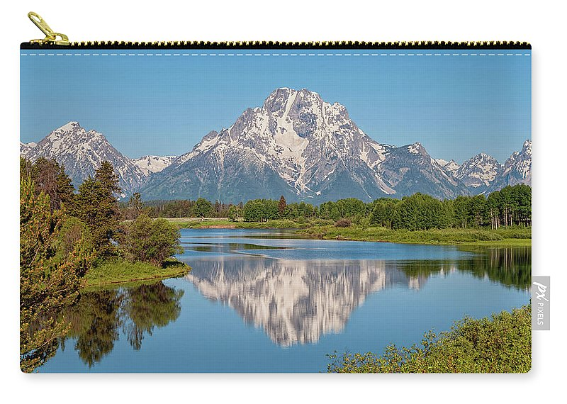 Mount Moran Carry-all Pouch featuring the photograph Mount Moran On Snake River Landscape by Brian Harig