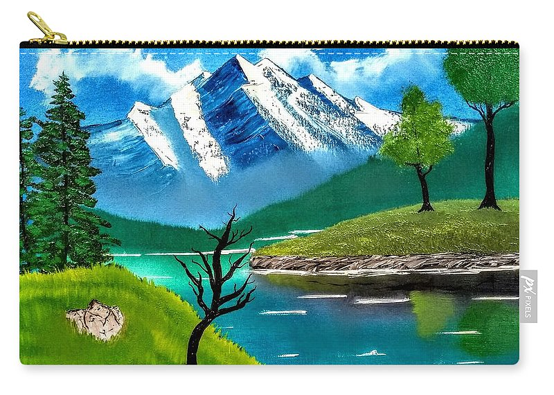Blue Carry-all Pouch featuring the painting Mountain By The Lake by Rodger Saunders