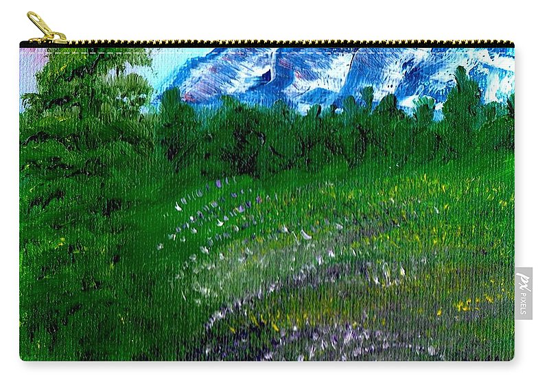 Landscape Carry-all Pouch featuring the painting Mountain Meadow by Joanne Dour
