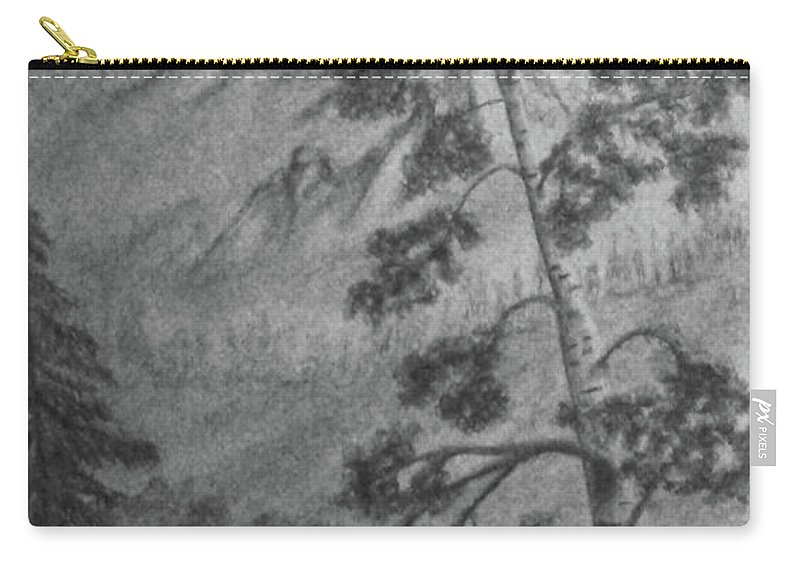 Graphite Carry-all Pouch featuring the drawing Mountain Outlook by Ann Gilman