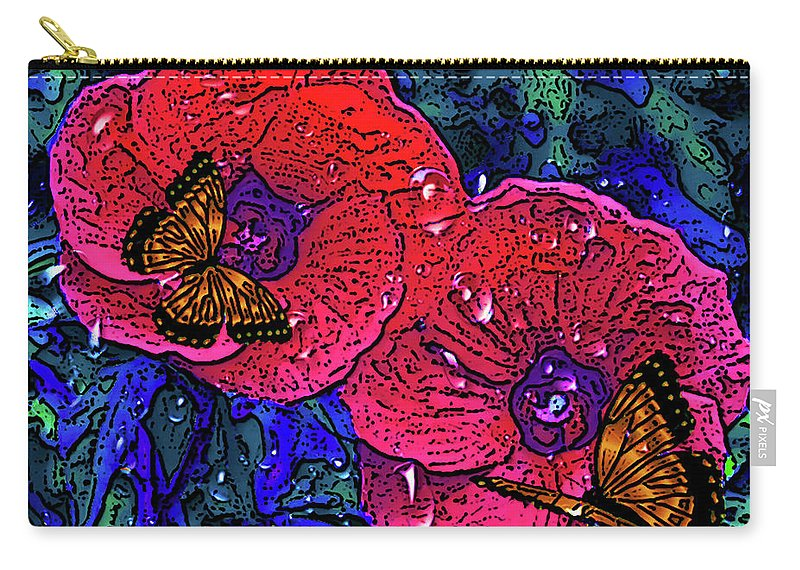 Digital Arts Carry-all Pouch featuring the painting Moving Flowers by Maria Rom