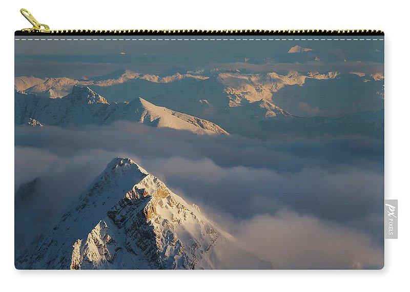 Scenics Carry-all Pouch featuring the photograph Mt. Zugspitze 6 - Bavaria Germany by Wingmar