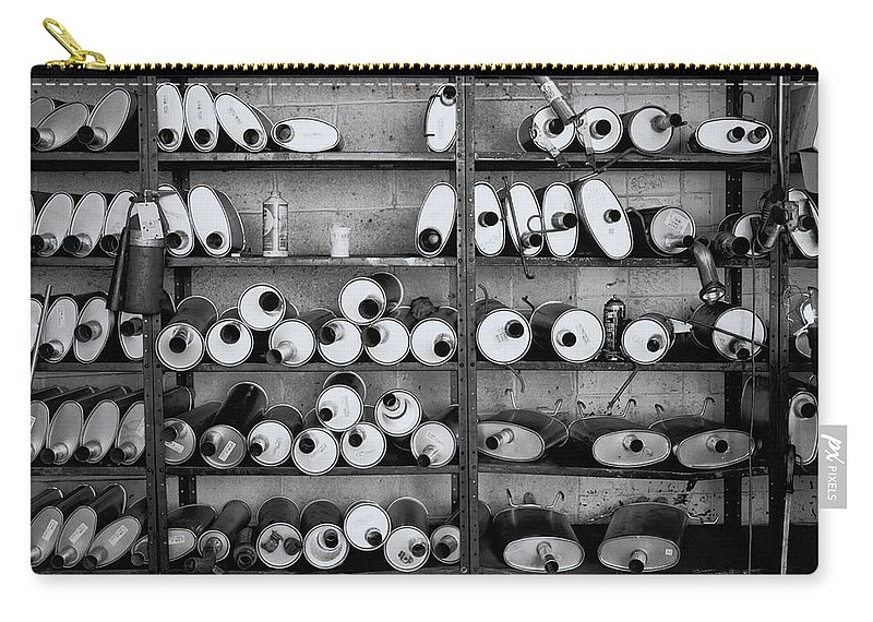 Variation Carry-all Pouch featuring the photograph Mufflers On Shelves by Henri Silberman