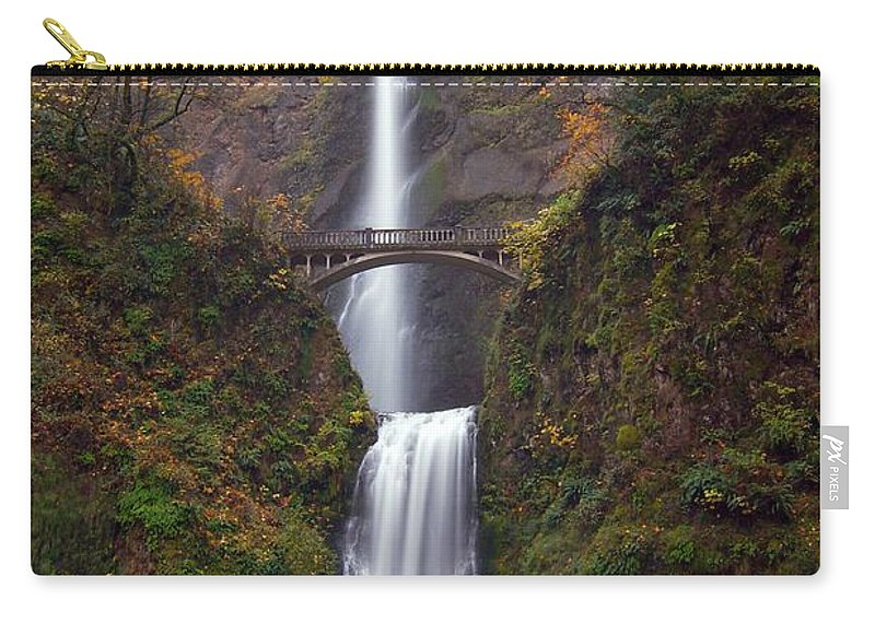 Scenics Carry-all Pouch featuring the photograph Multnomah Falls by Ted Ducker Photography