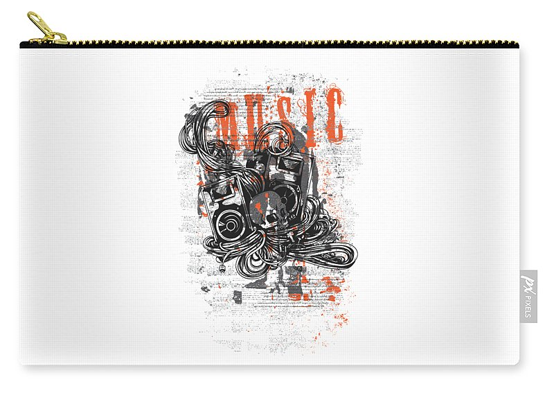 Skull Carry-all Pouch featuring the digital art Music by Passion Loft