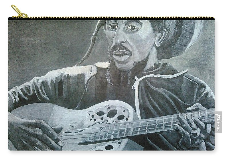 Bob Marley Painting Carry-all Pouch featuring the painting Musical Man by Andrew Johnson