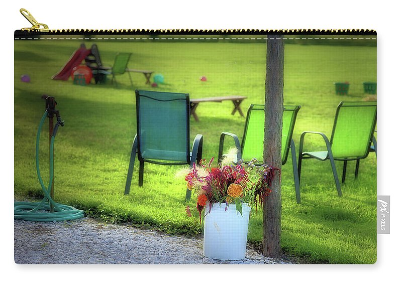 Carry-all Pouch featuring the photograph Muzeical Chairz by Robert McCubbin