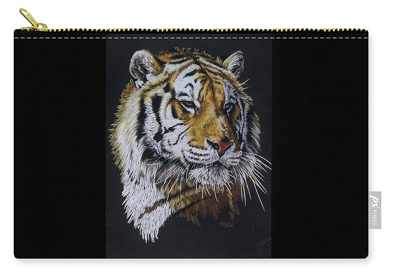 Panthera Carry-all Pouch featuring the drawing Nanook the Tiger by Barbara Keith