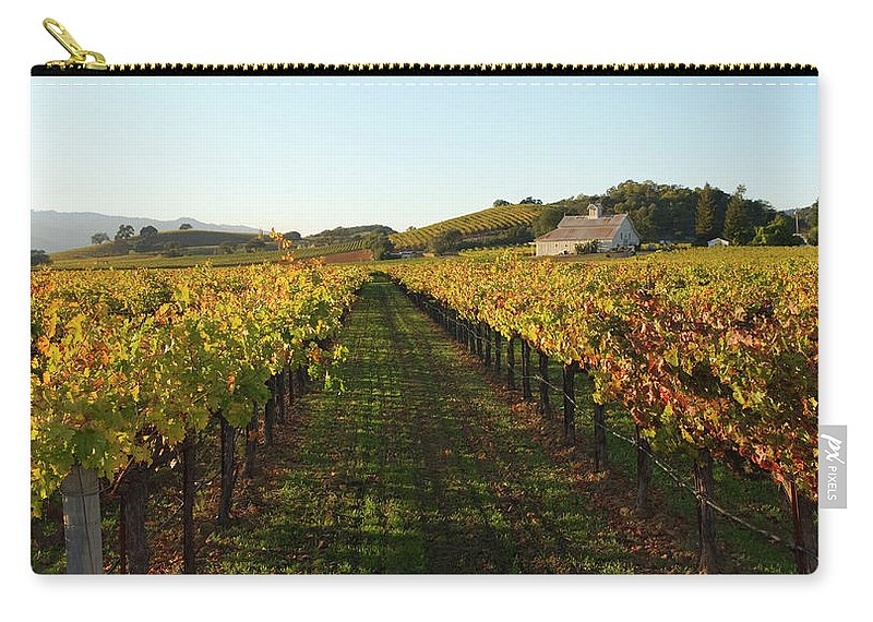 Scenics Carry-all Pouch featuring the photograph Napa Valley Vineyard In Autumn by Leezsnow