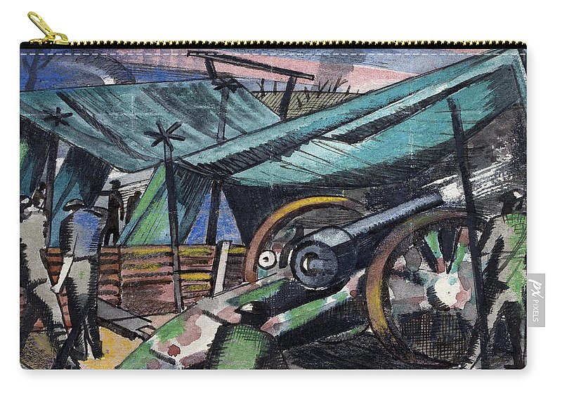 B1019 Carry-all Pouch featuring the painting A Howitzer Firing, 1918 by Paul Nash