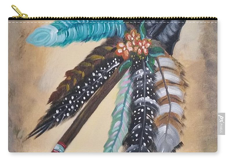 Western Carry-all Pouch featuring the painting Native American Style by Connie Powell