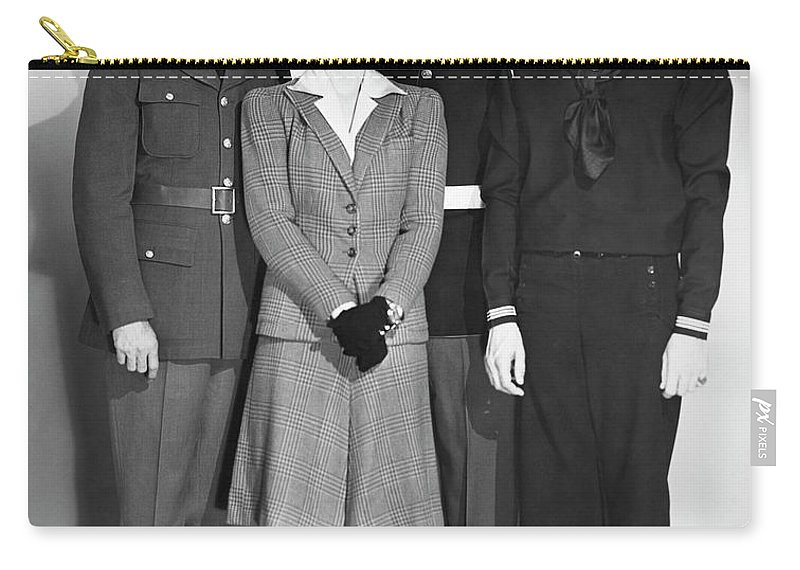 People Carry-all Pouch featuring the photograph Navy, Marine, Army Officers by George Marks