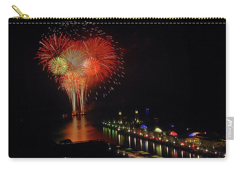 Firework Display Carry-all Pouch featuring the photograph Navy Pier Fireworks by Image By Douglas R. Siefken