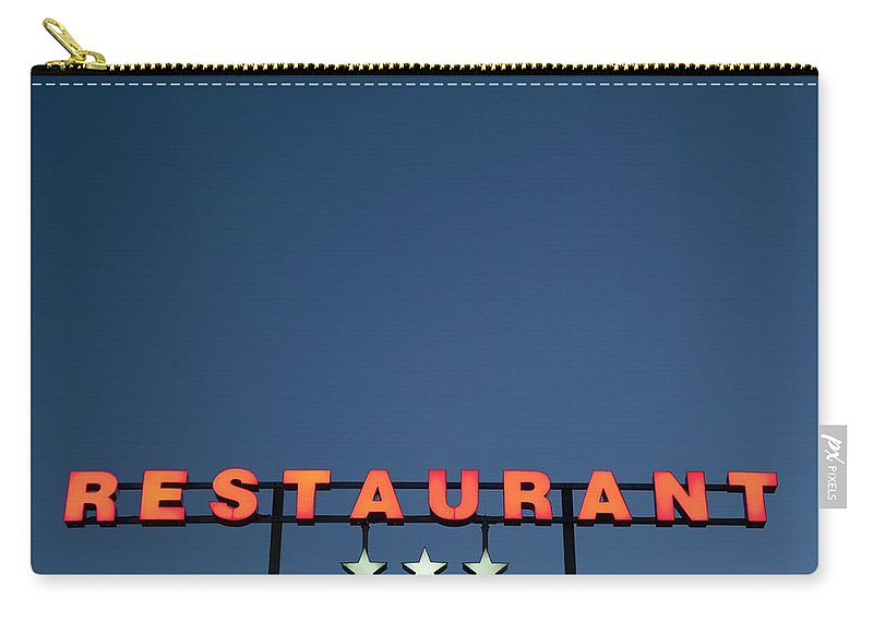 Temptation Carry-all Pouch featuring the photograph Neon 3 Star Restaurant Sign by Henglein And Steets