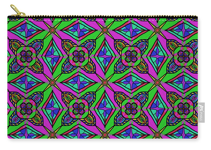 Neon Carry-all Pouch featuring the digital art Neon Diamond Pattern by Becky Herrera
