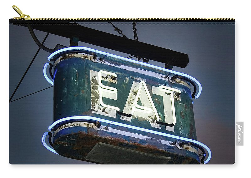 Hanging Carry-all Pouch featuring the photograph Neon Eat Sign by Kjohansen
