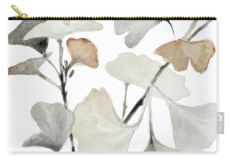 Neutral Carry-all Pouch featuring the painting Neutral Ginko Stems I by Lanie Loreth