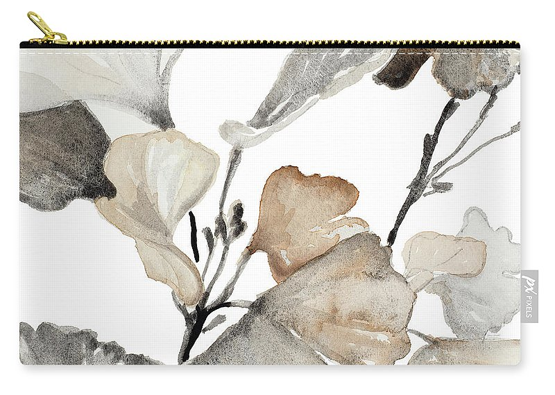 Neutral Carry-all Pouch featuring the painting Neutral Ginko Stems II by Lanie Loreth