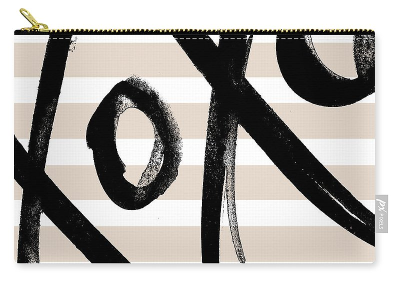 Neutral Carry-all Pouch featuring the mixed media Neutral Glam Xoxo by Sd Graphics Studio