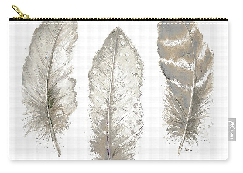 Neutral Carry-all Pouch featuring the painting Neutral Watercolor Feathers II by Patricia Pinto