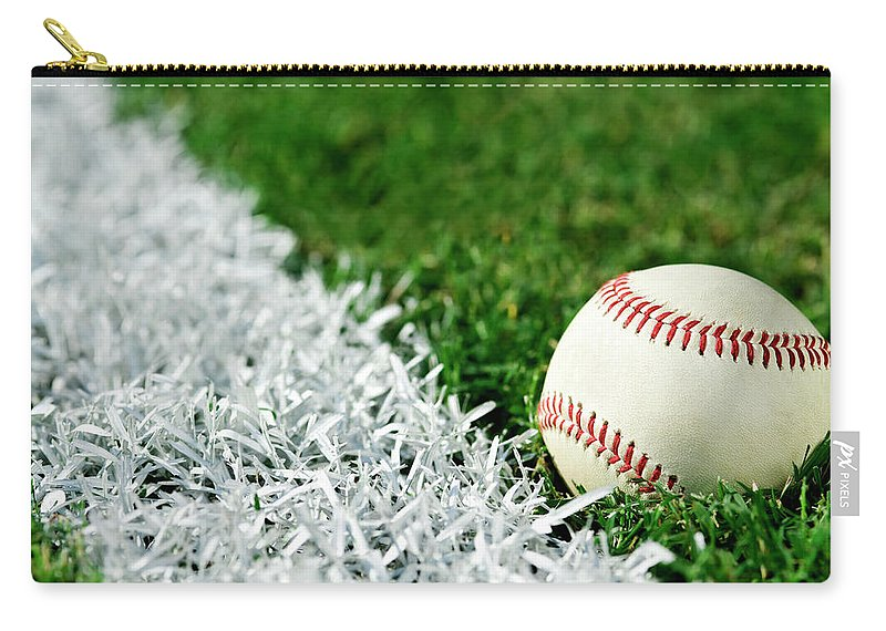 Grass Carry-all Pouch featuring the photograph New Baseball Along Foul Line by Cmannphoto