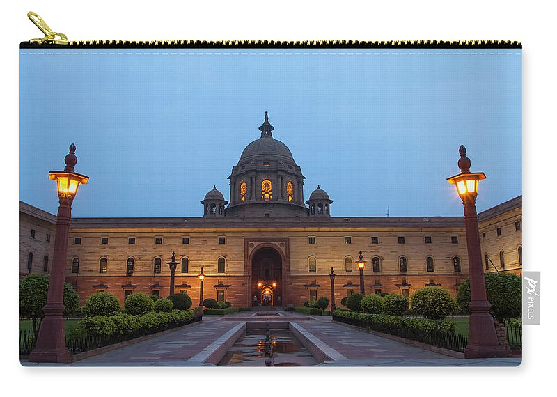New Delhi Carry-all Pouch featuring the photograph New Delhi President House At Night by Prognone