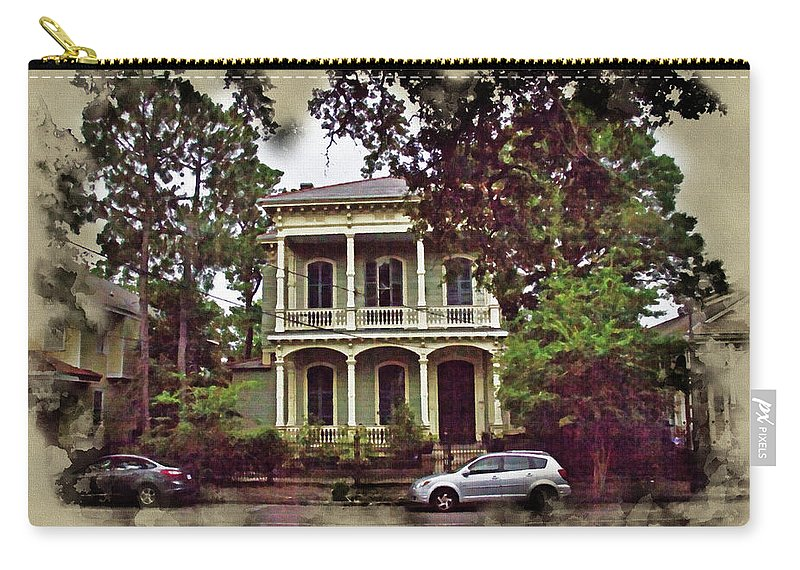 Abstract Art Carry-all Pouch featuring the photograph New Orleans Home In Watercolor by Robert Kinser