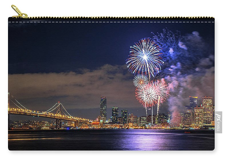 Firework Display Carry-all Pouch featuring the photograph New Year Fireworks by Piriya Photography