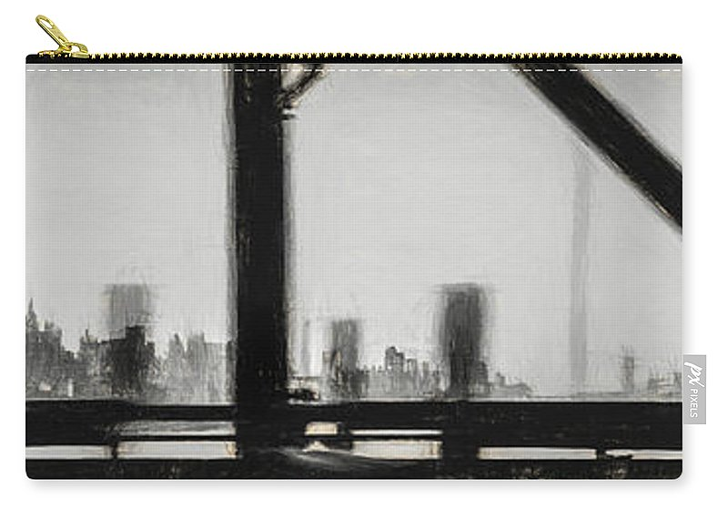 City Carry-all Pouch featuring the drawing New York City From The Bridge #nyc #cityscape by Andrea Anderegg