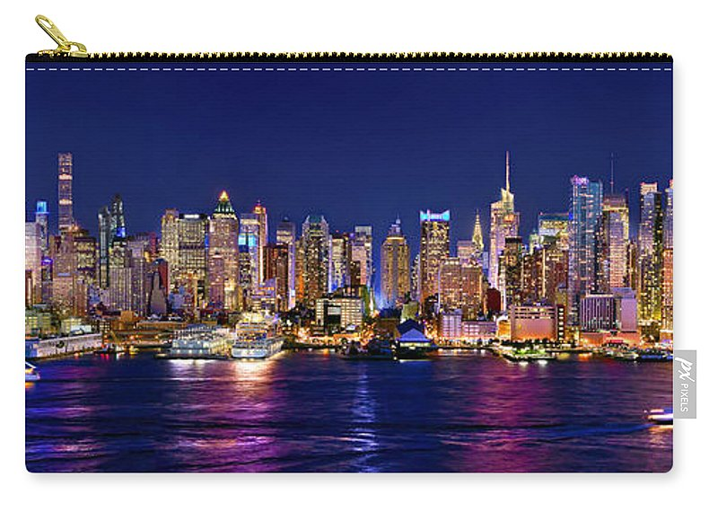 New York City Skyline At Night Carry-all Pouch featuring the photograph New York City NYC Midtown Manhattan at Night by Jon Holiday
