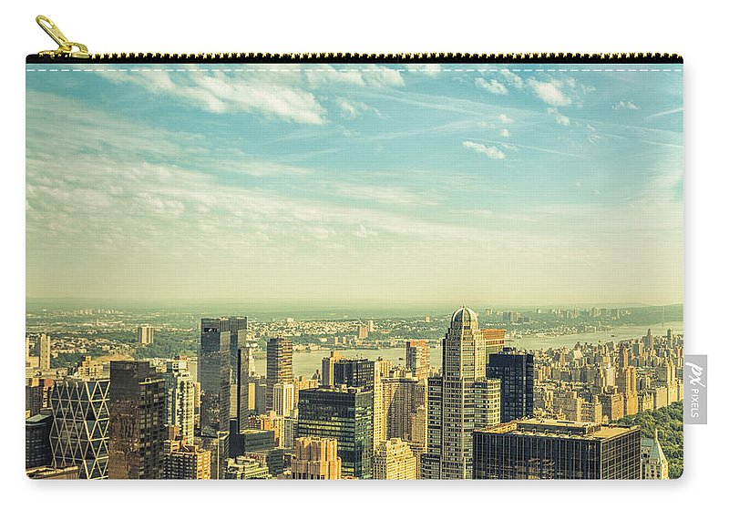 Lower Manhattan Carry-all Pouch featuring the photograph New York City Skyline With Central Park by Franckreporter