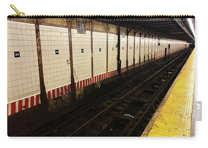 New York Subway Carry-all Pouch featuring the photograph New York City Subway Line by Shane Kelly