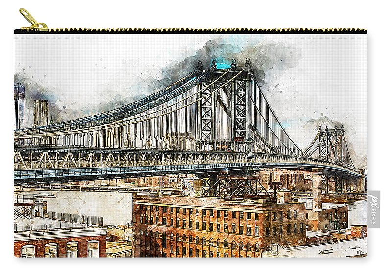 New York Panorama Carry-all Pouch featuring the painting New York Panorama - 29 by Andrea Mazzocchetti