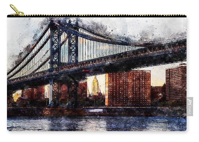New York Panorama Carry-all Pouch featuring the painting New York Panorama - 30 by Andrea Mazzocchetti
