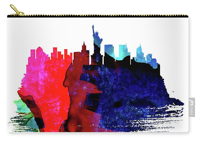 New York Carry-all Pouch featuring the mixed media New York Skyline Brush Stroke Watercolor  by Naxart Studio
