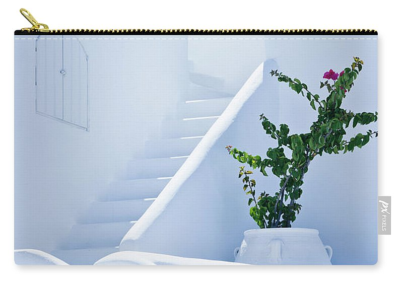 Steps Carry-all Pouch featuring the photograph Nice White Stairs In Oia Village by Mbbirdy