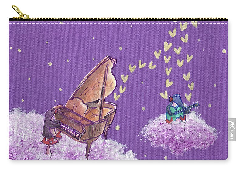 Penguin Carry-all Pouch featuring the painting Night Sky Music Makers by MaryAnn Loo